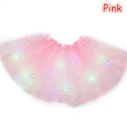 Girls Ballet Dance Tutu Skirt Glitter Star Sequins Princess Mul Pink