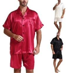 män silke satin pyjamas sätter mjuka andas sömnkläder kort ärm White L