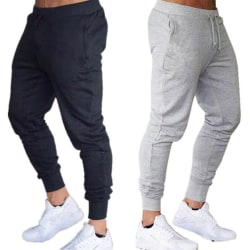 Men Sports Gym Pants Slim Fit Running Joggers Casual Long Trous Gray M