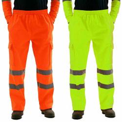Mens Hi Vis Visibility Safety Fleece Bottoms Work Wear Trouser  Orange L