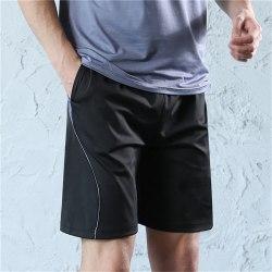Men's Shorts Sports Running Shorts Men hombre Gym Jogging Fitnes black+blue S