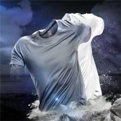 Mesh Ice silk men Summer Stretch Short Sleeve Quick Drying Breat blue 3XL