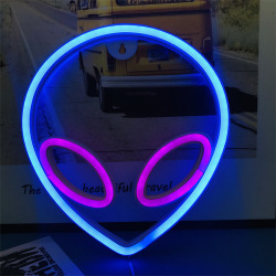 Neon Sign Alien Face Shaped Wall Hanging Lights Saucerman Night  A4
