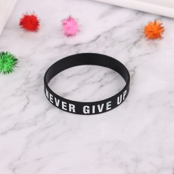 Never Give Up Silicone Bracelet Inspirational Sports Hand With  Black