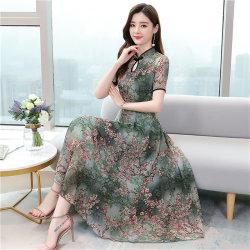 Cheongsam midiklänning med tryckt temperament