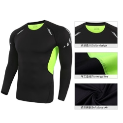 Sports tights men''s long sleeve stretch breathable quick dryin Black XL