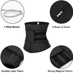 Waist Trainer Neoprene Belt Sauna Sweat Body Shaper Black S