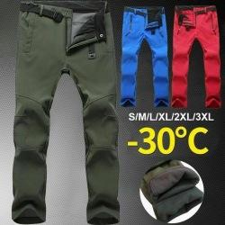 Waterproof Men Outdoor Sports Hiking Warm Fleece Trousers Fishi Black XL