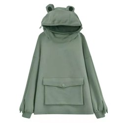 Women''s frog hooded long sleeve loose casual sweater top light green S