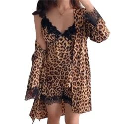Kvinnors pyjamas leopard 4-delad pyjamasdräkt, nattklänning, hängslen