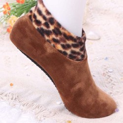 Women Winter Warm Thicke Home Bed Sock Non Slip Elastic Floor So Coffee