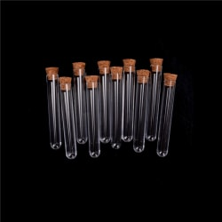 10Pcs/lot Plastic Test Tube With Cork Vial Sample Container Bot 0 15*100