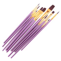 10Pcs purple paint brush set Nylon watercolor acrylic oil drawin Dark purple one size