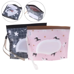 1Pc portable cute baby wipes bag pouch outdoor easy-carry clean  Black