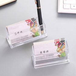 2 cells Acrylic Desktop Business Card Holder Pen holder Display one size