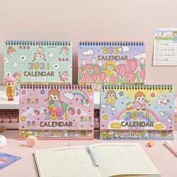 2021 Cartoon Girl Desk Calendar Table Timetable Planner 2020.08- A