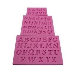 3 pcs New Mini Letter&Number Silicone Handmade Fondant Cake Dec Pink Set