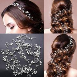 35cm Wedding Headband Pearl Crystal Bridal Hair Accessories Head Silver 2#