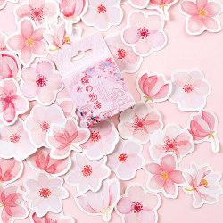 45pcs/pack Cherry Sakura Journal Stickers DIY Diary Stationery S one size