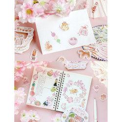 45Pcs Sakura Stickers Stationery Journal Scrapbooking Diary Labe onesize