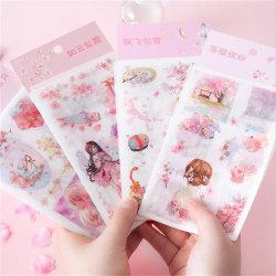 6 lakan / förpackning Vår Sakura Kimono Girl Paper Paper Dekorativ Sticke
