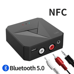 Bluetooth 5.0 Receiving Transmitting Car 3.5AUX RCA Phone NFC Ad onesize