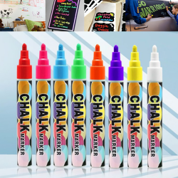 Colorful Dual Nib Liquid Chalk Highlighter Fluorescent Neon Mar White