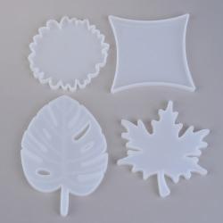 DIY underlägg mögel UV harts kristall silikon formar rund lönn Le