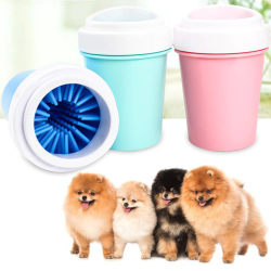 Dog Paw Cleaner Cat Pet Foot Washer Cup Soft Brush Cleaning Dirt Blue
