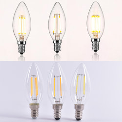 LED Bulb Spotlight 2W/4W/6W E14 COB Candle/Flame Tip C35 Filamen 6W  warm white