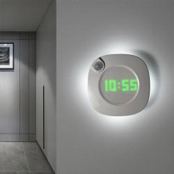 LED Digital Time Wall Clock With PIR Motion Sensor Night Light  one size