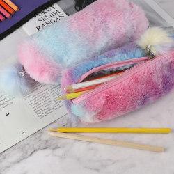 Rainbow Plush Pencil Case School Supplies Stationery Pencil Box  Purple