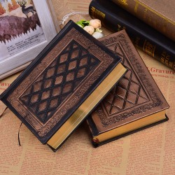 Retro Blank Notepad Hardcover Leather Face Book Relief Planner N P2