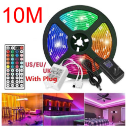 RGB SMD 3528 10M 600LED Strip Light With 12V Adapter Plug 44Key  EU