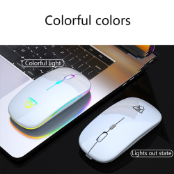 Slim Wireless Mouse Silent 2.4GHz USB Mice Rechargeable Silent B White