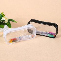 Soft Plastic Transparent Pencil Case Student Pvc Clear Pen Bag T black