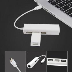 Type C USB-C 3.1 to USB 3.0 Hub Ethernet Lan RJ45 Network Adapte White