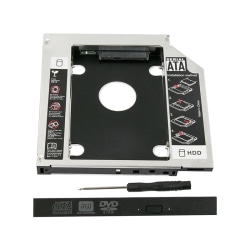 Universal 12.7mm SATA 2nd SSD HDD Hard Drive Caddy for CD/DVD-RO Black