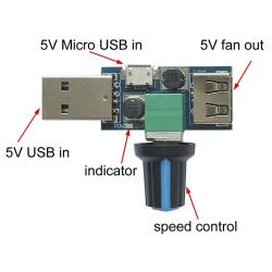USB Fan Speed Controller DC 4V-12V 5W Multi-Gear Mute Auxiliary  one size