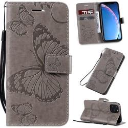 iPhone 11 Pro  Plånbok Fjäril Grå Grey