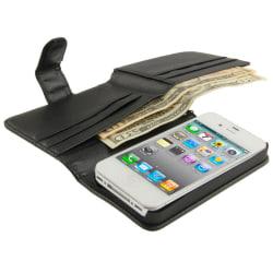 iPhone 4/4S Plånbok Läder Svart