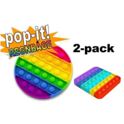 2 Pack Popit Fidget Pop It Regnbåge Rund - CE Godkänd