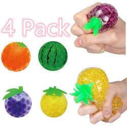 4 Pack Frukt Anti-stress ball sensoriska fidget leksaker