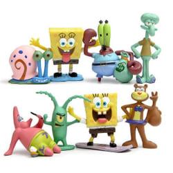 8 Pack SvampBob Fyrkant Figurer Spongebob Squarepants julklappar