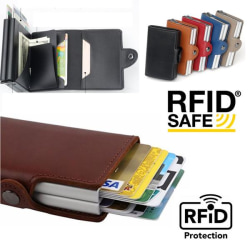 Dubbel Stöldskydds Plånbok RFID-NFC Säker POP UP Kortshållare Brown Brun- 12st Kort