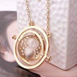 Harry Potter Time Turner Halsband Hermiones  Vit Sand goldplated Guld