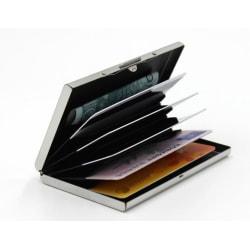 Korthållare med fack - Skyddar RFID - metall - plånbok Silver