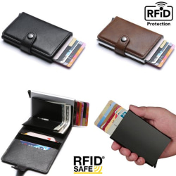 Smart RFID Skydd Plånbok Korthållare 5st Kort Äkta Läder 5färger Black Svart-Modell med knapp