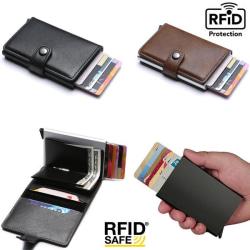 Smart RFID Skydd Plånbok Korthållare 5st Kort Äkta Läder 5färger Brown Brun-Modell med knapp