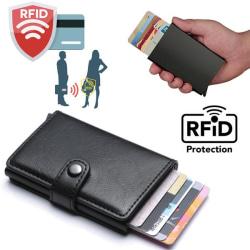 Svart-RFID Skydd Plånbok Korthållare 5st Kort (Äkta Läder) Svart
